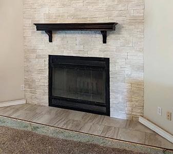 Quality Carpet & Tile custom fireplace project